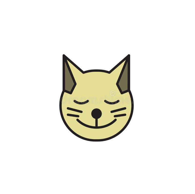 Ícone redondo principal do gato Cara de sorriso do gatinho Ícone do projeto dos desenhos animados Ilustração lisa do vetor Isolad ilustração stock