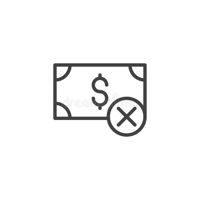 Ícone rejeitado do esboço do pagamento ilustração stock