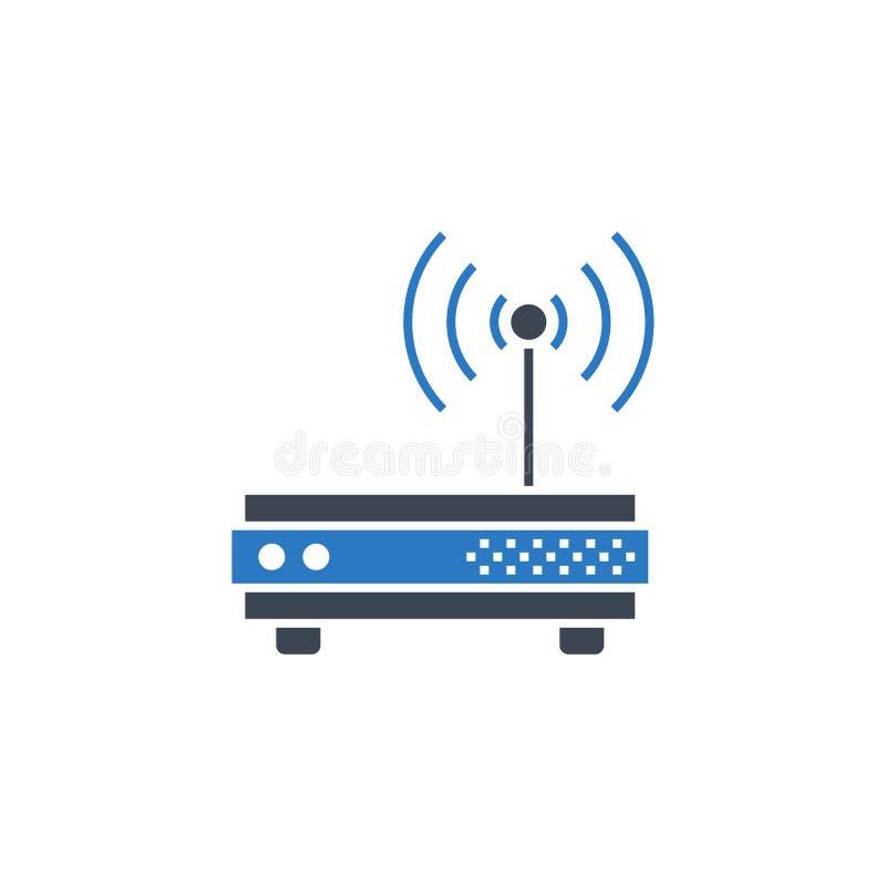 Ícone relacionado do glyph do vetor do router ilustração do vetor