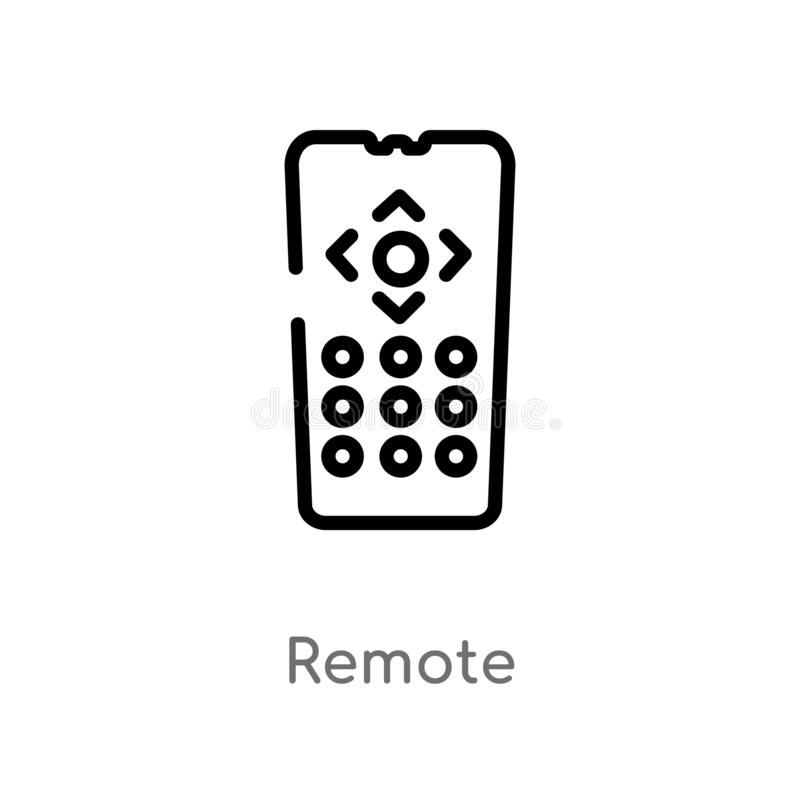 ícone remoto do vetor do esboço linha simples preta isolada ilustração do elemento do conceito esperto da casa Curso editável do  ilustração royalty free