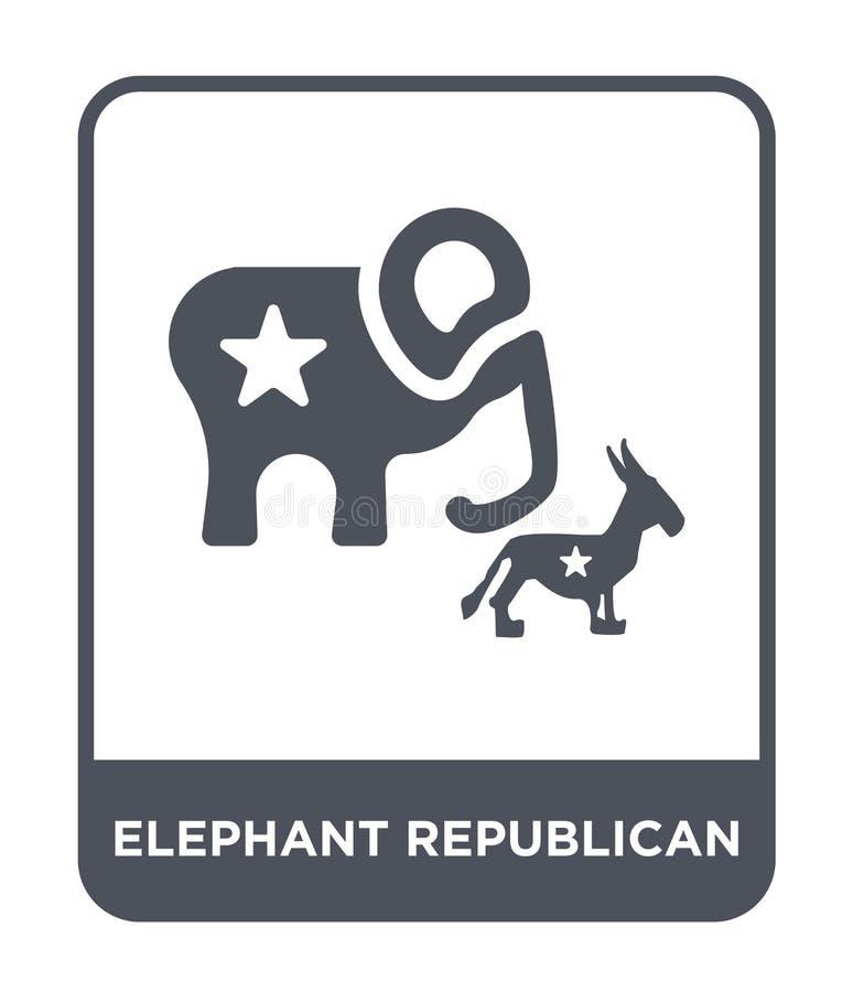 ícone republicano do elefante no estilo na moda do projeto ícone republicano do elefante isolado no fundo branco vetor republican ilustração stock