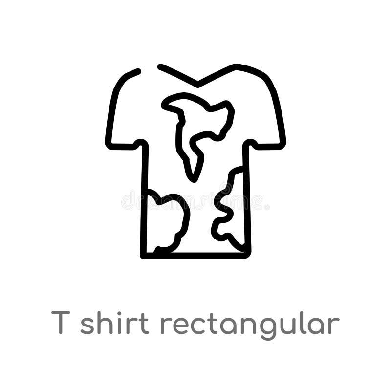 ícone retangular do vetor do pescoço da camisa do esboço t linha simples preta isolada ilustra??o do elemento do conceito da form ilustração royalty free