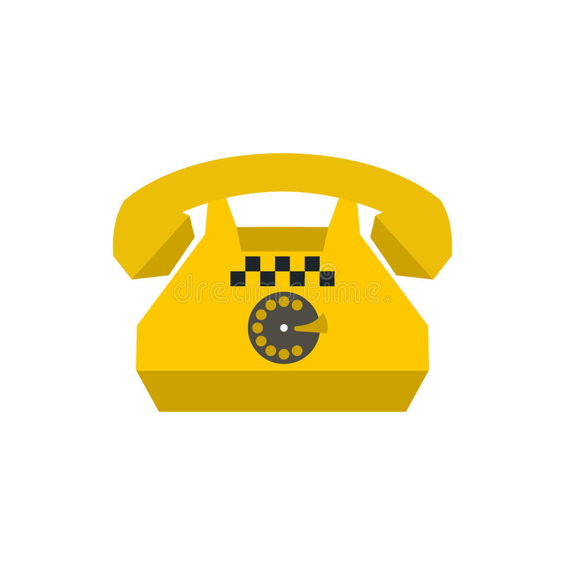 Ícone retro amarelo do telefone do táxi, estilo liso ilustração do vetor