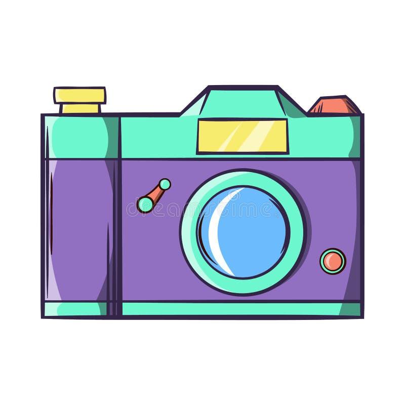 Ícone retro da câmera da foto do moderno, estilo dos desenhos animados ilustração do vetor