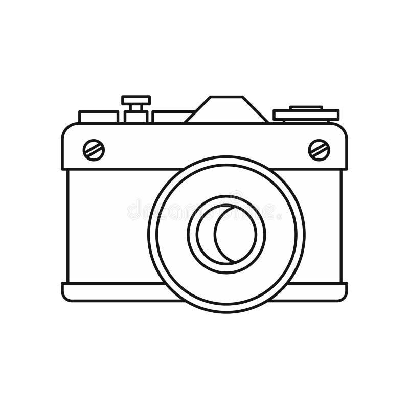 Ícone retro da câmera da foto, estilo do esboço ilustração royalty free