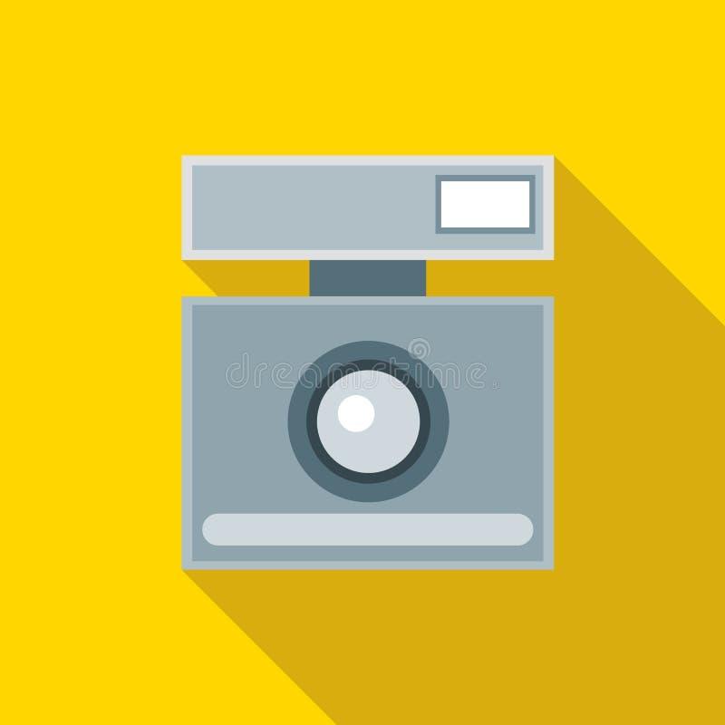 Ícone retro da câmera da foto, estilo liso ilustração stock