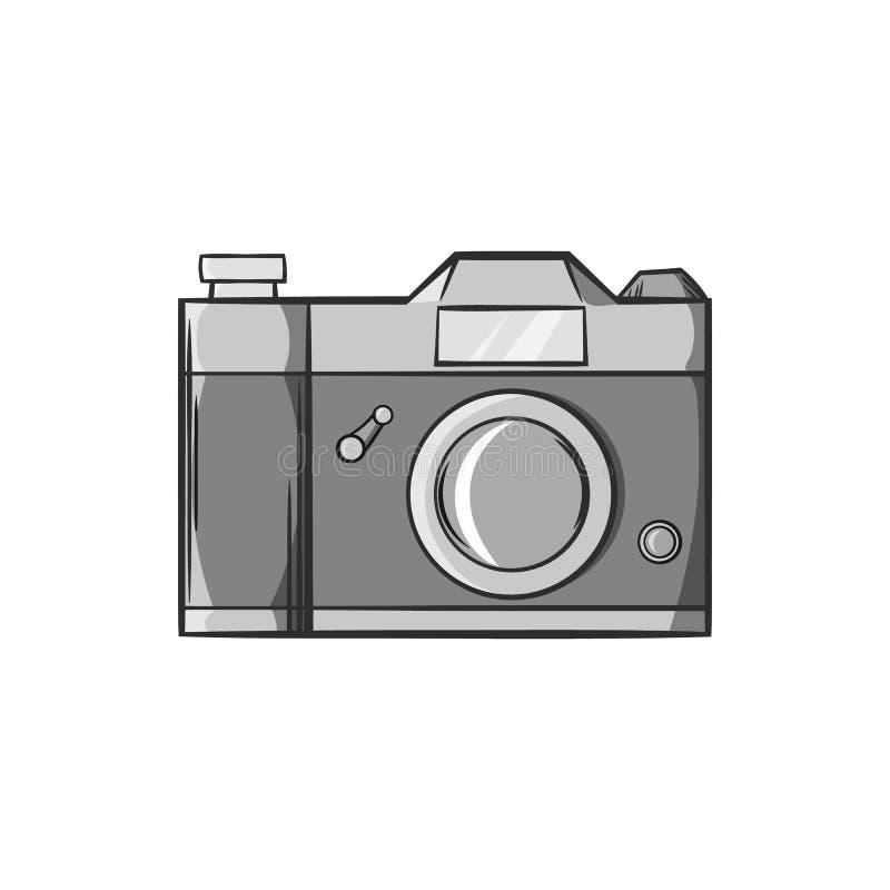 Ícone retro da câmera da foto, estilo monocromático preto ilustração royalty free