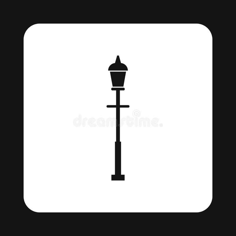 Ícone retro da lanterna da rua, estilo simples ilustração royalty free