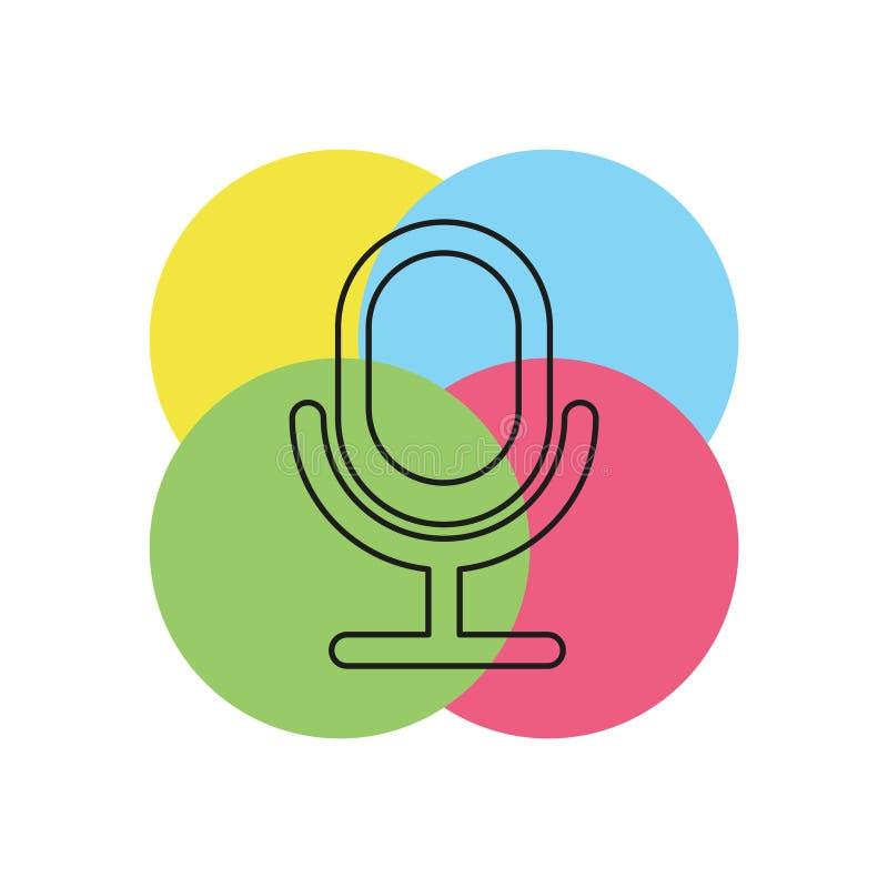 Ícone retro do microfone - música sadia ilustração stock