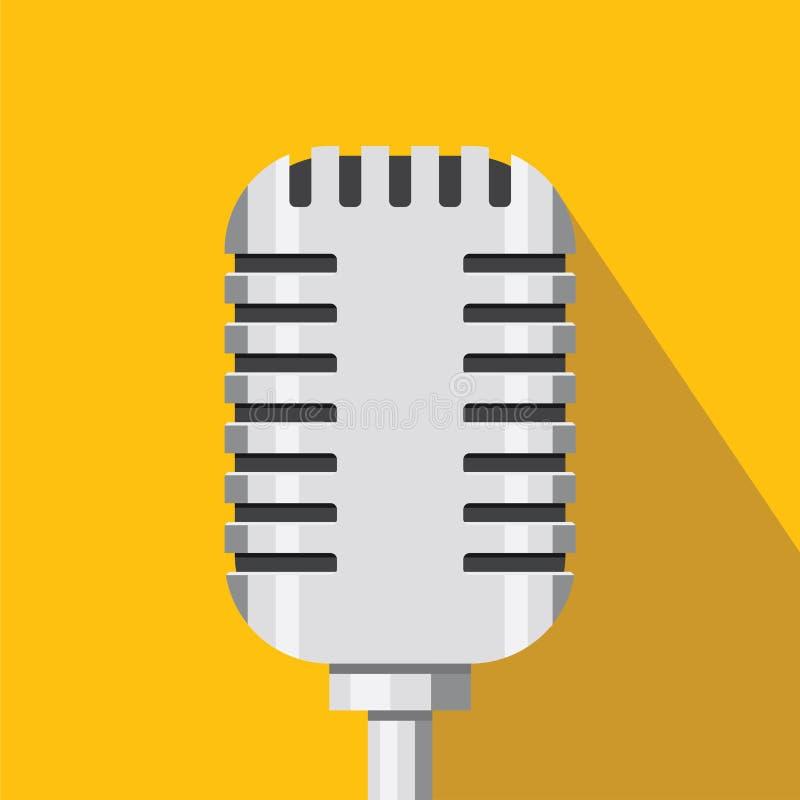 Ícone retro do microfone Ícone do som e da música Projeto liso Ilustração do vetor ilustração royalty free
