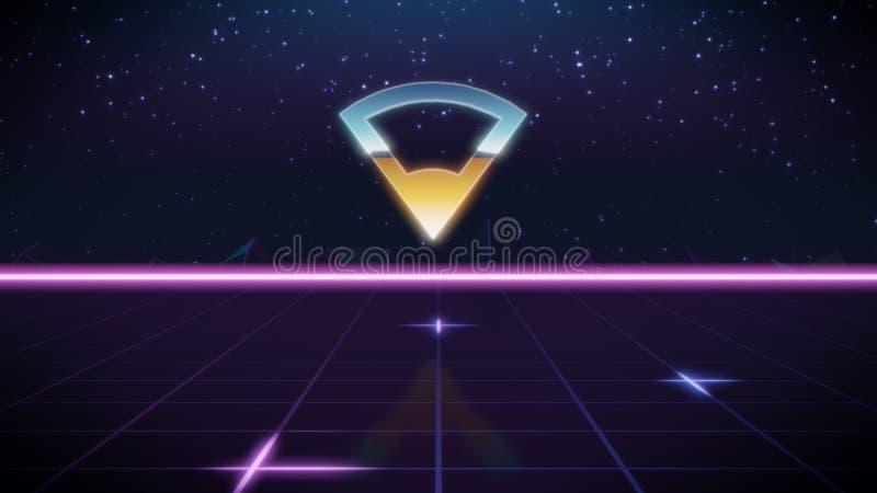 ícone retro do projeto do synthwave da conexão ilustração do vetor