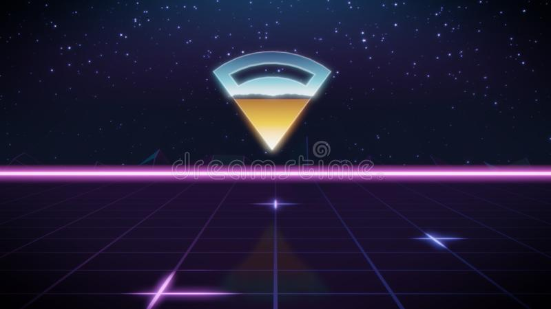 ícone retro do projeto do synthwave da conexão ilustração stock