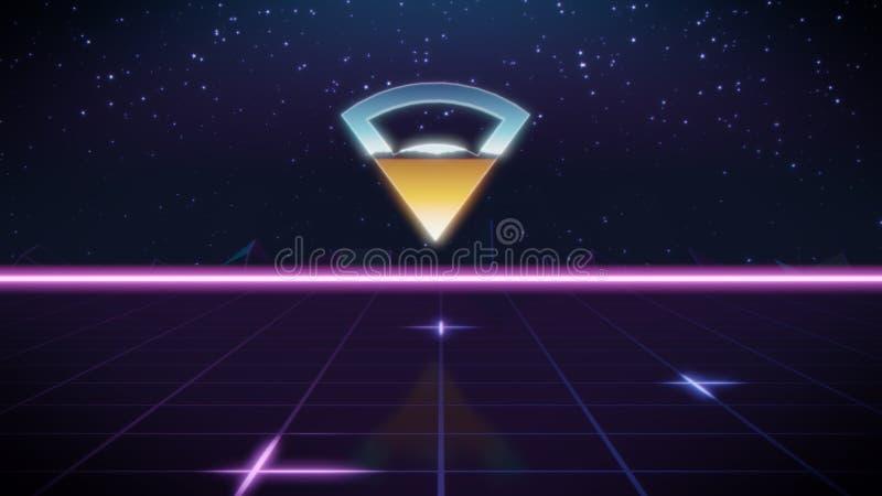 ícone retro do projeto do synthwave da conexão ilustração royalty free