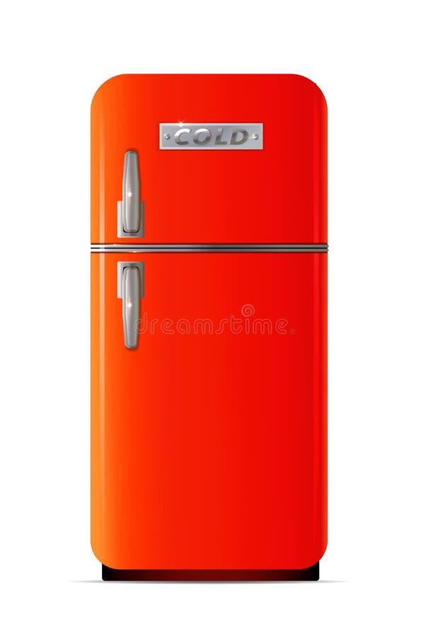 Ícone retro do refrigerador Ilustração lisa do ícone retro do vetor do refrigerador ilustração do vetor