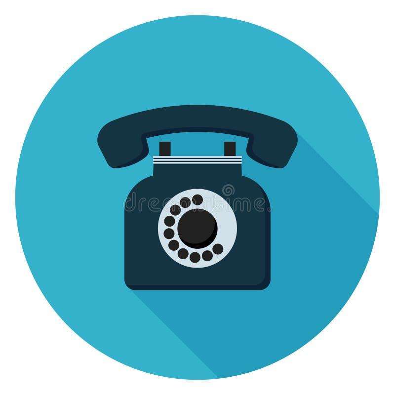 Ícone retro do telefone do vintage no projeto liso ilustração stock