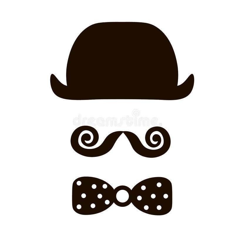 Ícone retro do vetor do vintage do moderno cavalheiro com o chapéu, o bigode e o bowtie ilustração do vetor