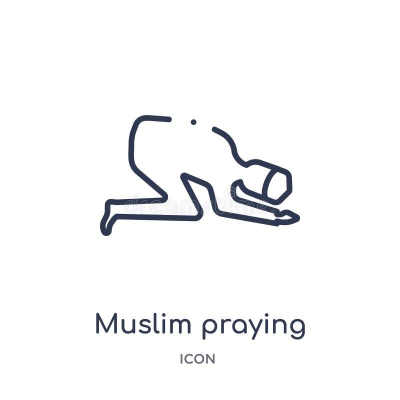 Ícone rezando muçulmano linear da coleção do esboço das culturas Linha fina ícone rezando muçulmano isolado no fundo branco muçul ilustração do vetor