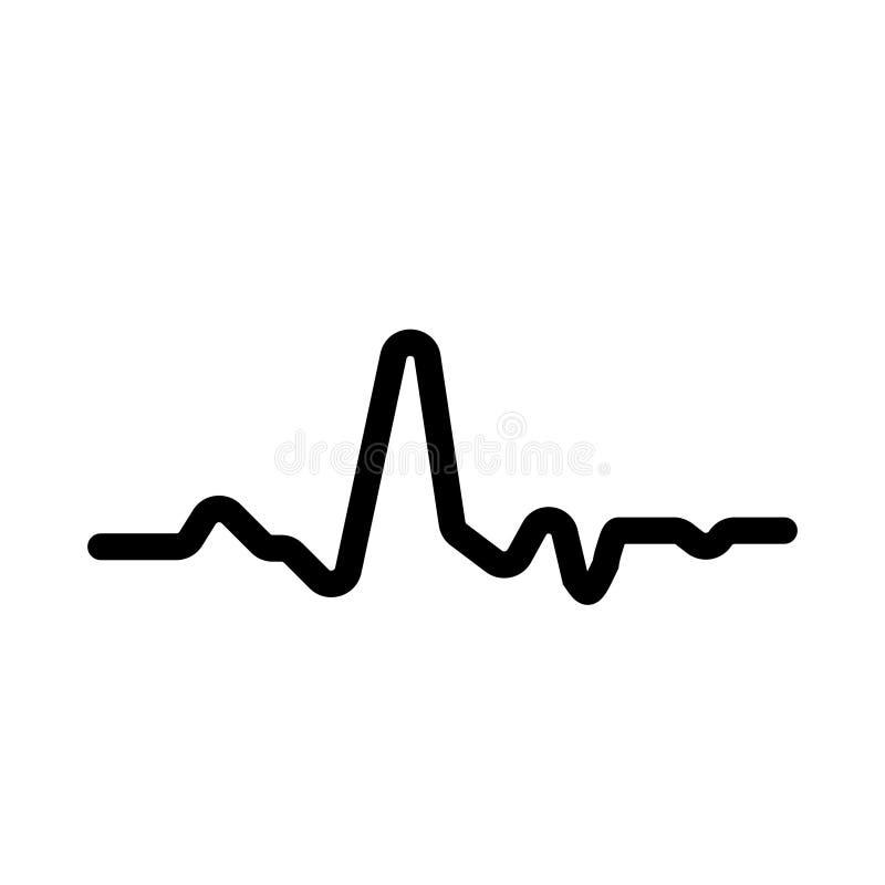 Ícone ritmo da pulsação do coração do eletrocardiograma ECG do gráfico linear Ilustração do vetor do ECG ilustração stock