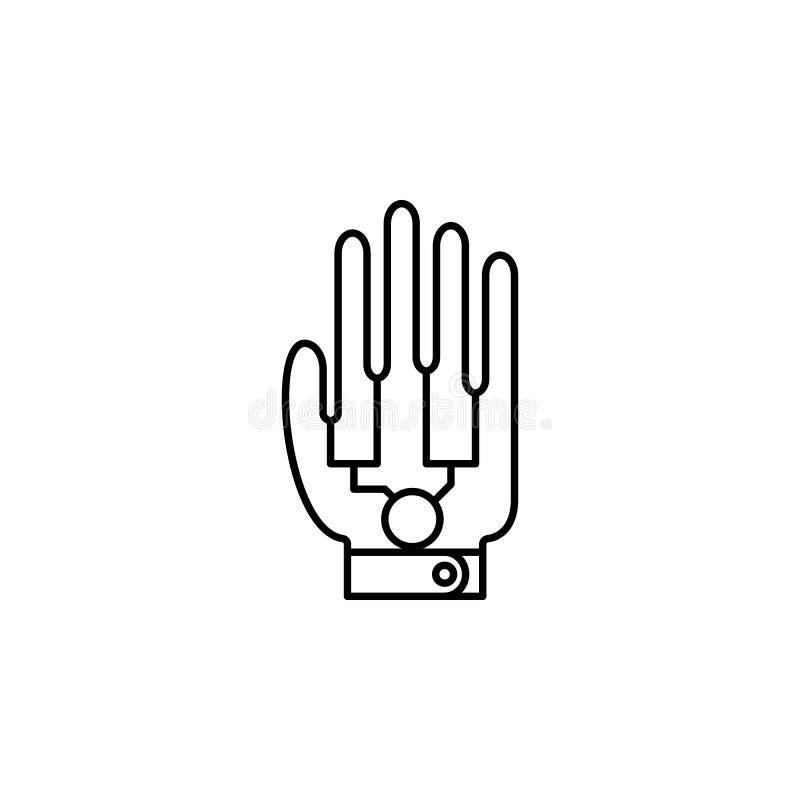 Ícone robótico da mão da mão mecânica Elemento do ícone futuro da tecnologia para apps móveis do conceito e da Web Linha fina ro  ilustração do vetor