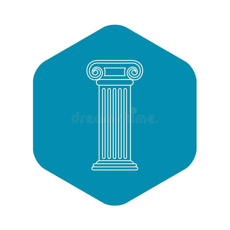 Ícone romano da coluna, estilo do esboço ilustração royalty free