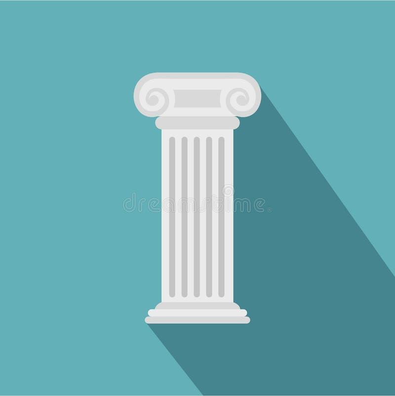 Ícone romano da coluna, estilo liso ilustração stock