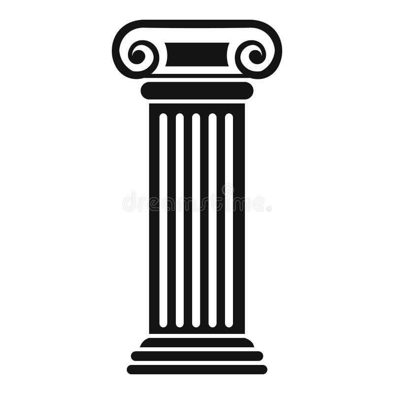 Ícone romano da coluna, estilo simples ilustração stock