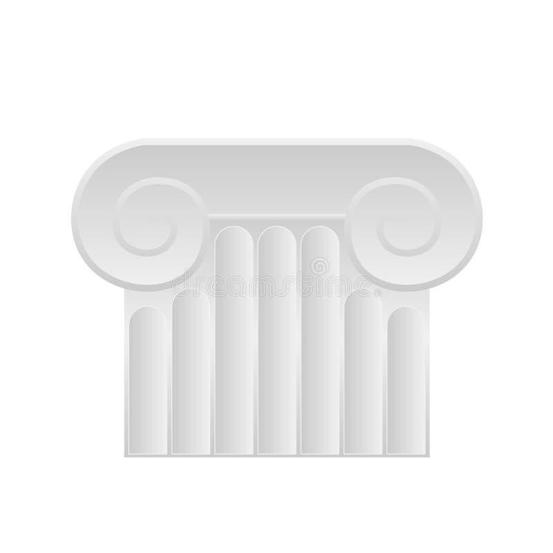 Ícone romano da coluna Ilustração lisa do ícone romano do vetor da coluna no branco ilustração stock