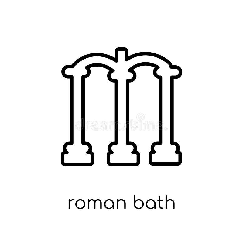 Ícone romano do banho Ico romano do banho do vetor linear liso moderno na moda ilustração royalty free