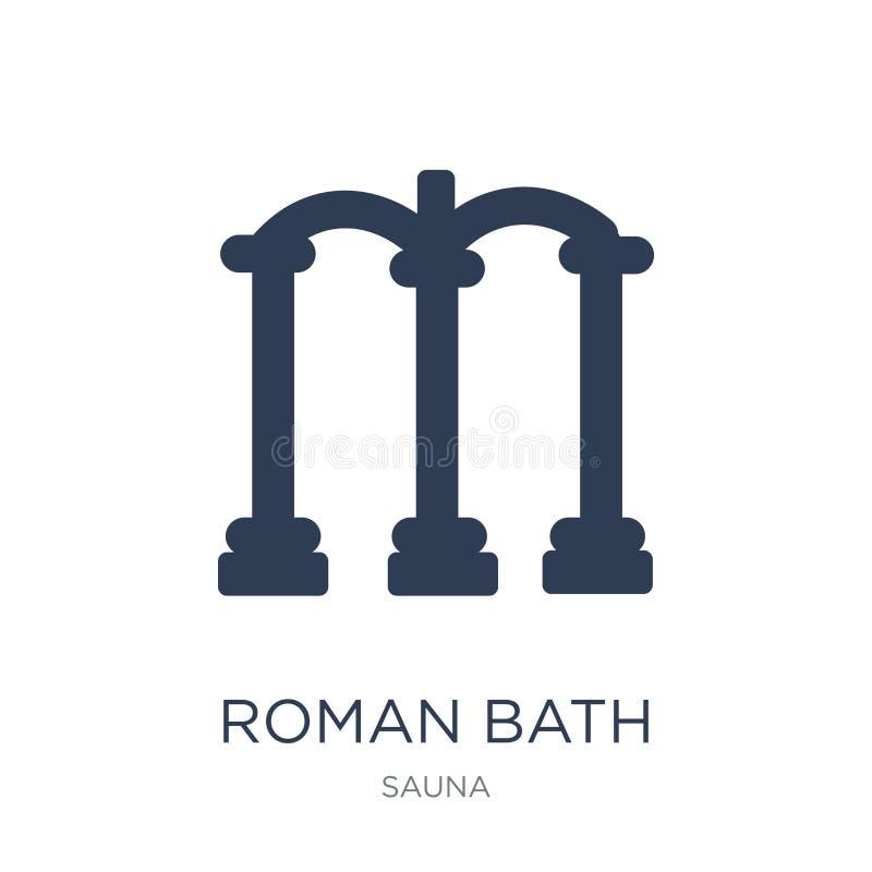 Ícone romano do banho Ícone romano do banho do vetor liso na moda no CCB branco ilustração royalty free
