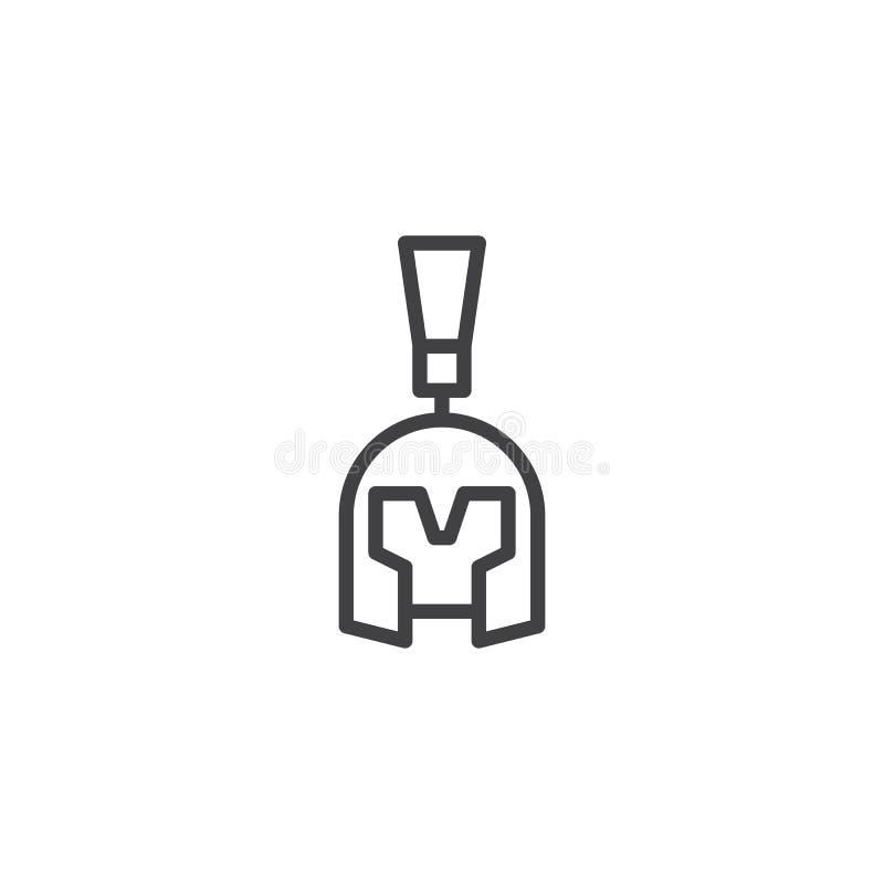 Ícone romano do esboço do capacete ilustração stock