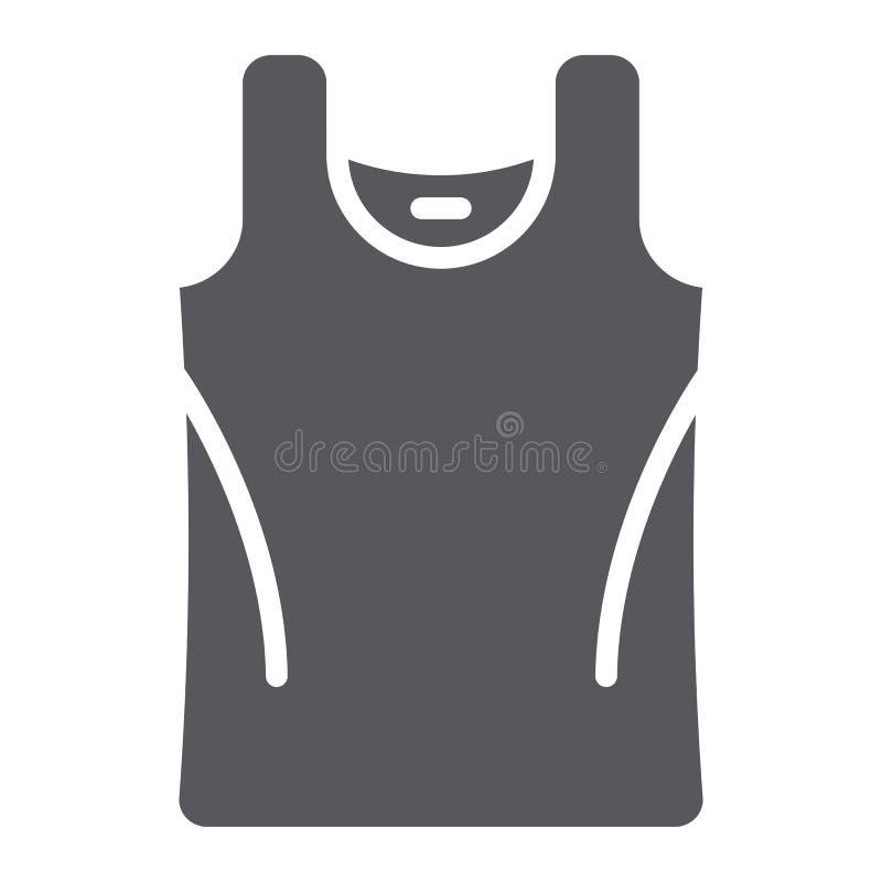 Ícone, roupa e ocasional do glyph da camiseta interioa, sinal da camisa, gráficos de vetor, um teste padrão contínuo em um fundo  ilustração stock