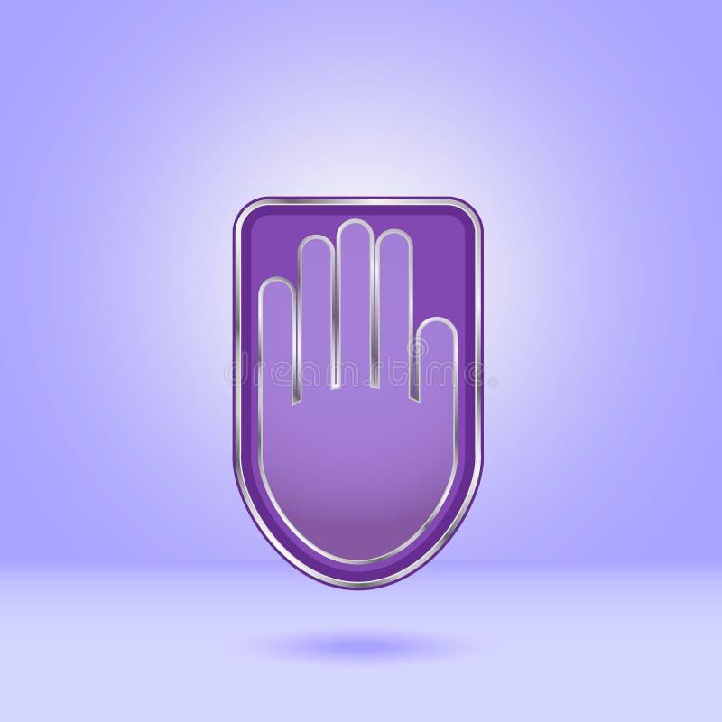 Ícone roxo da mão com afiação do metal ilustração royalty free