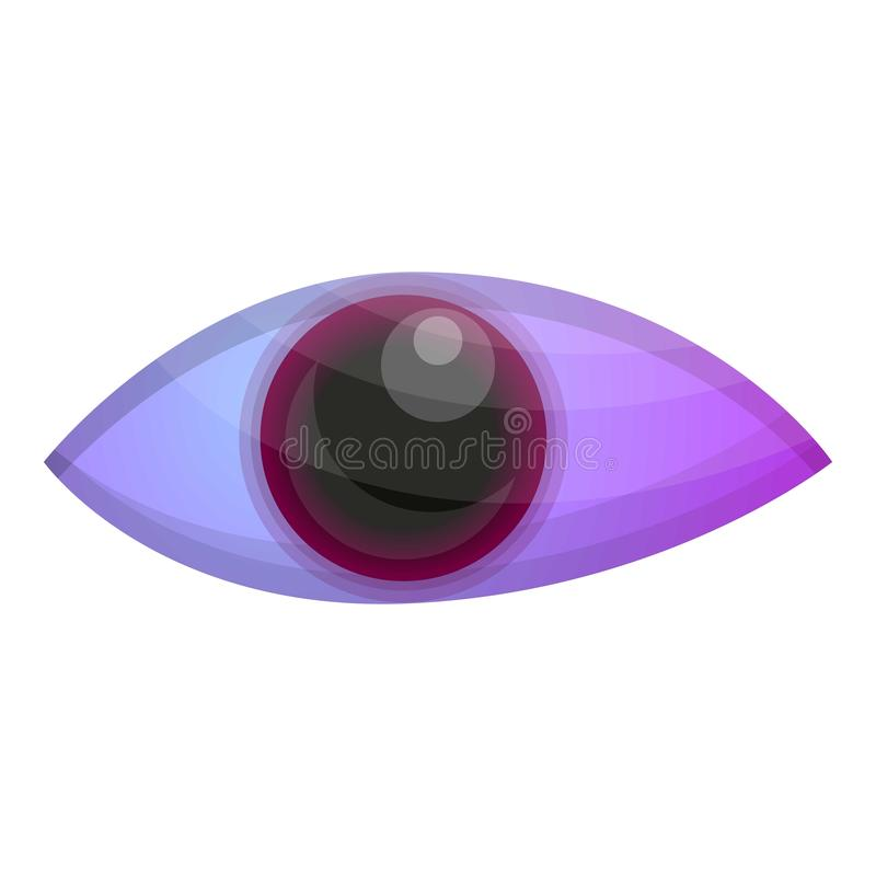 Ícone roxo mágico do olho, estilo dos desenhos animados ilustração royalty free