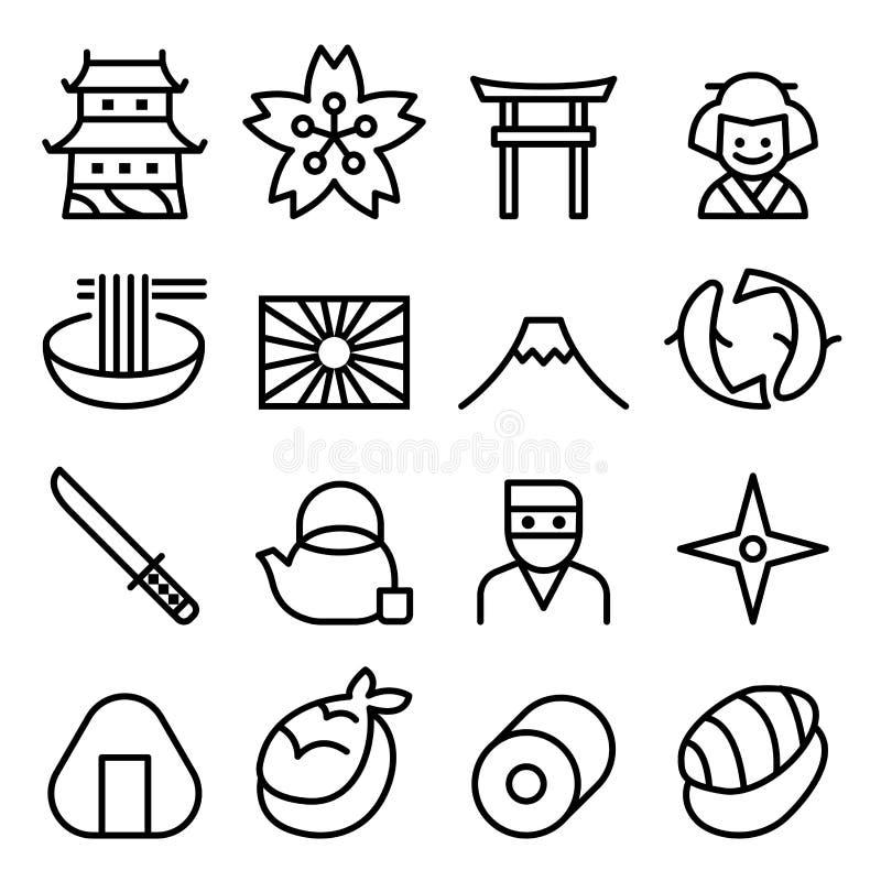 Ícone & símbolo básicos de Japão na linha estilo fina ilustração do vetor