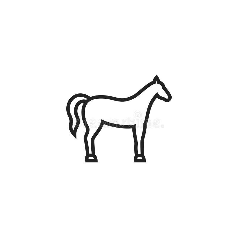 Ícone, símbolo ou logotipo do vetor do esboço do cavalo ilustração royalty free