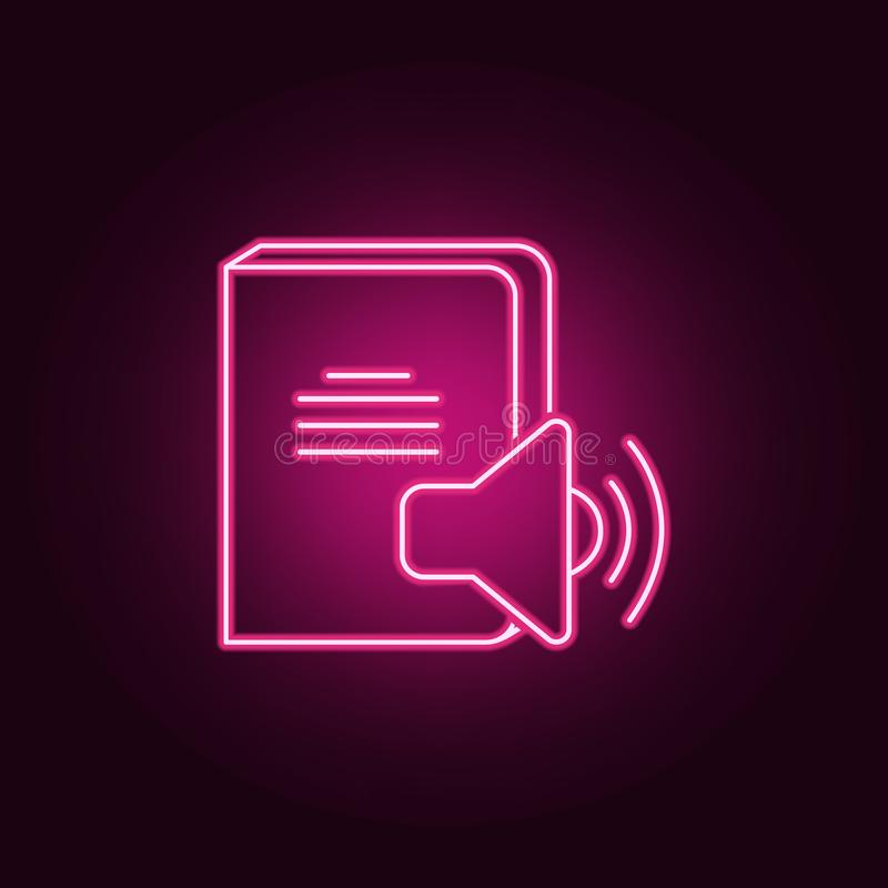Ícone sadio do livro Elementos dos livros e dos compartimentos nos ícones de néon do estilo Ícone simples para Web site, design w ilustração do vetor