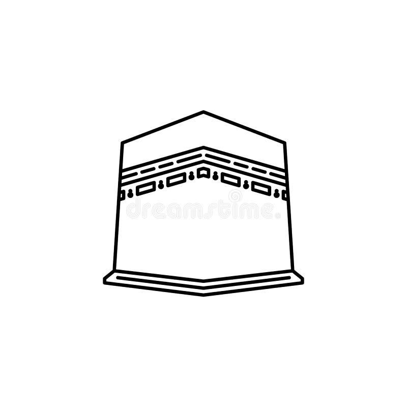 Ícone santamente do esboço da construção do kaaba ilustração stock