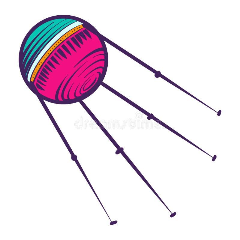 Ícone satélite da bola, estilo tirado mão ilustração do vetor