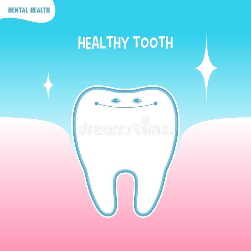 Ícone saudável do dente dos desenhos animados ilustração do vetor