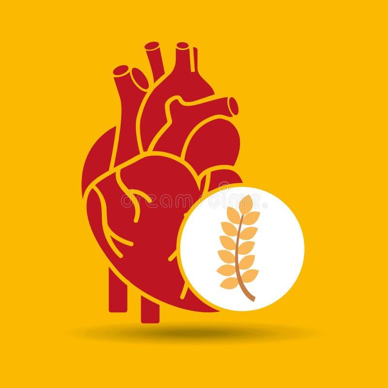 Ícone saudável do projeto de conceito do trigo do coração do alimento ilustração do vetor