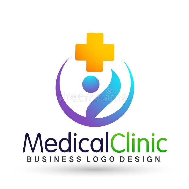 Ícone saudável do projeto do logotipo dos cuidados paliativos dos povos médicos da clínica do cuidado da família da saúde no fund ilustração do vetor