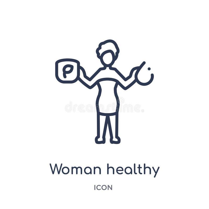 Ícone saudável do tratamento da mulher linear da coleção do esboço das senhoras Linha fina ícone saudável do tratamento da mulher ilustração stock