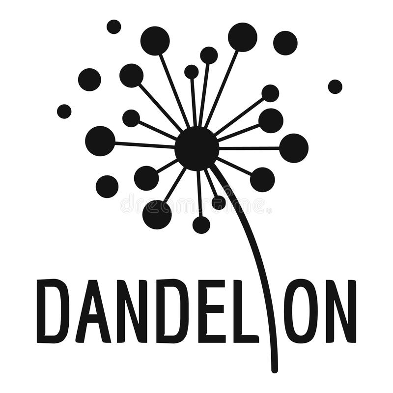 Ícone secado do logotipo do dente-de-leão, estilo simples ilustração do vetor