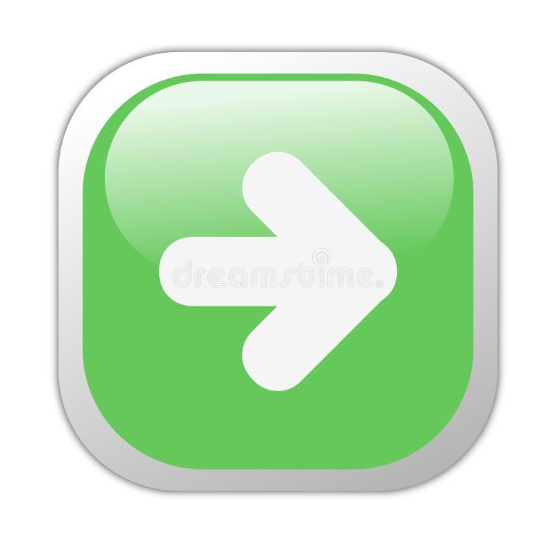 Ícone seguinte quadrado verde Glassy ilustração royalty free