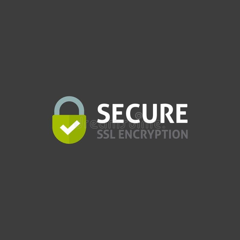 Ícone seguro da conexão a Internet, símbolos fixados do cadeado do SSL, protegidos ilustração stock