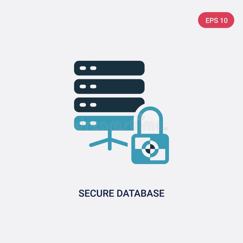 Ícone seguro de duas cores do vetor do banco de dados do conceito da segurança o símbolo seguro azul isolado do sinal do vetor do ilustração do vetor