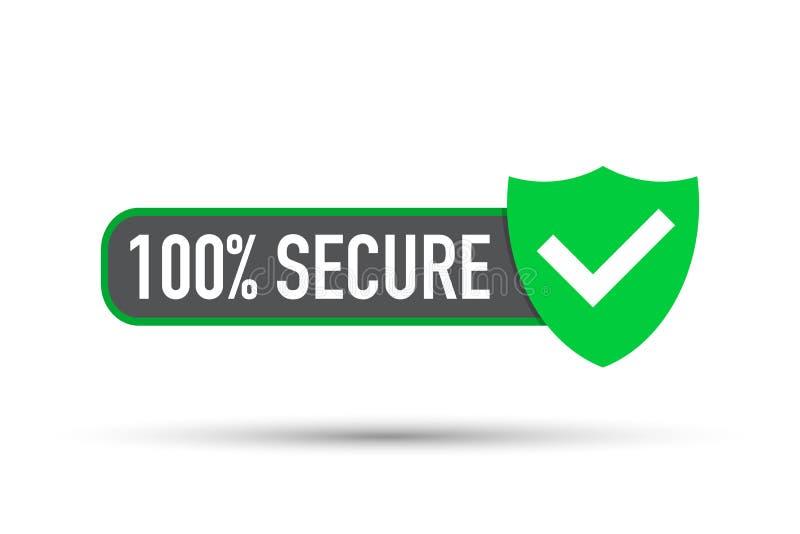 Ícone seguro do vetor do grunge 100 Crachá ou botão para o Web site do comércio ilustração royalty free