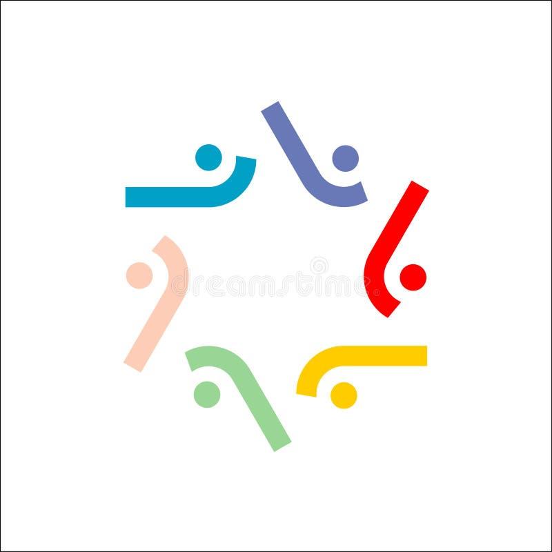 Ícone Seis pessoas ícone vetor do conceito de logo de amigos de pessoas este ícone também representa amizade, unidade de cooperaç ilustração do vetor