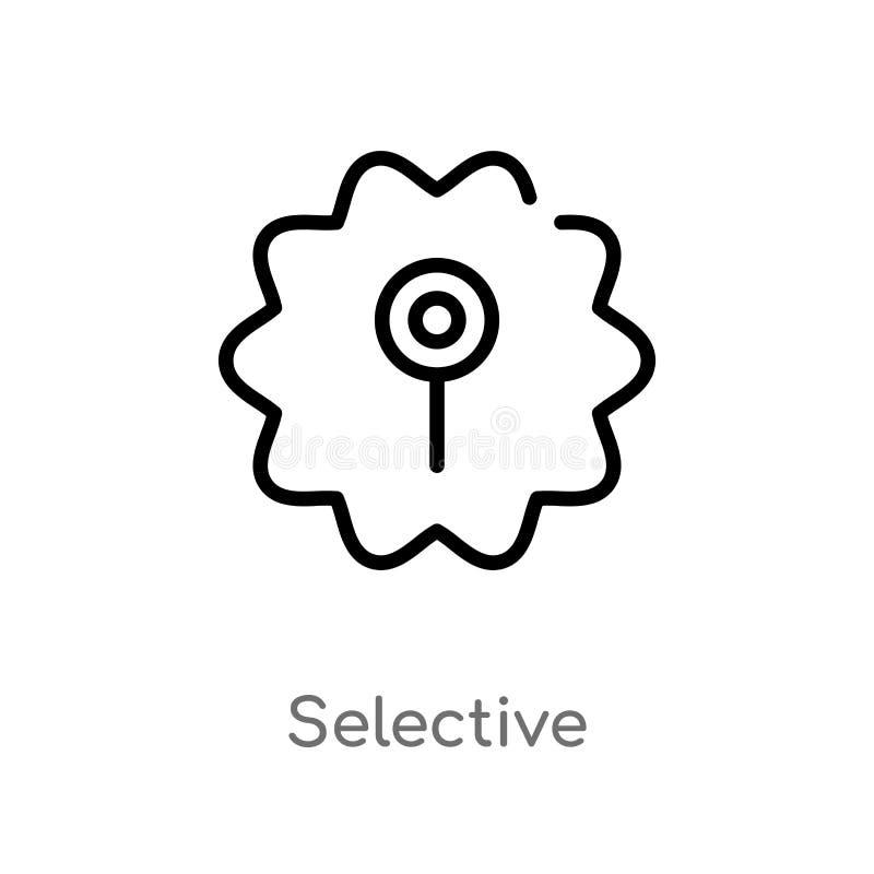 ícone seletivo do vetor do esboço linha simples preta isolada ilustra??o do elemento do conceito da interface de usu?rio Curso ed ilustração royalty free