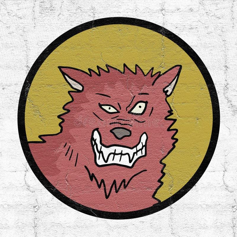Ícone selvagem do lobo ilustração stock